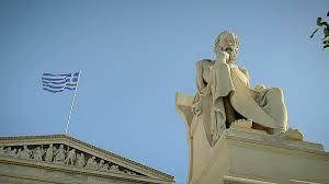 Greek Flag Background Statue Of The Greek Philosopher Socrates Background Of Greek Flag