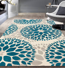 Modern Floral Rugs Area Rug Rugs Living Room Blue 7x9 Large Floor Bedroom Modern