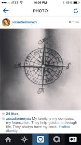 tattoo with family initials compass tattoo with family members birth month year and initial