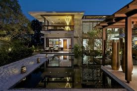 timeless contemporary house in with courtyard zen garden plus
