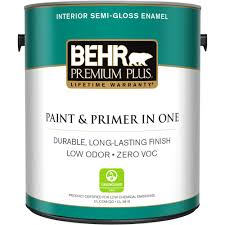 home depot paints interior behr premium plus 1 gal ultra white semi gloss enamel zero