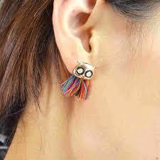 owl earrings colourful tassel owl earrings the box