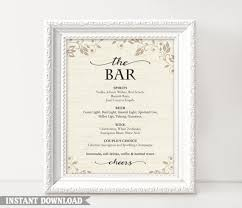 wedding bar menu template bar sign bar menu sign printable bar sign wedding bar sign