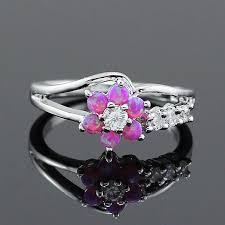 white fire rings images Haimis tiny cute white fire opal stones flower women opal rings jpg