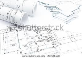 architect plans architect rolls house plans stock photo 583764430