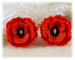 poppy earrings poppy stud earrings poppy clip on earrings