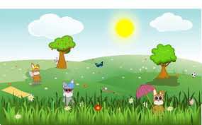 clipart summer green and sunny landscape with bunnies trees