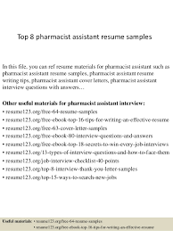 top 8 pharmacist assistant resume samples 1 638 jpg cb u003d1428557146