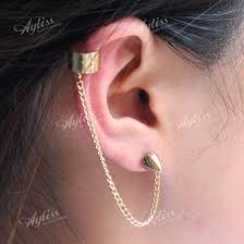 ear clasp cuff earrings for cartilage with chain beautify themselves with