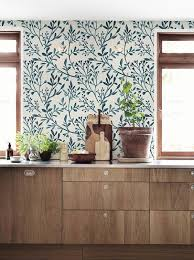 removable wallpaper for kitchen cabinets crushing on botanical blue floral wallpaper wooden kitchen