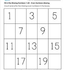 fill in the missing number 1 20 worksheets a wellspring