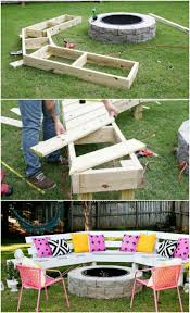 Patio Furniture Using Pallets by Diy Circle Bench Around Your Fire Pit Garden Pallet Fire Pit