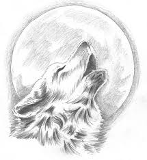 moon and howling wolf design