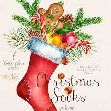 new years socks watercolor christmas socks with gifts santa clipart new