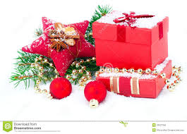 gift with festive decorations royalty free stock