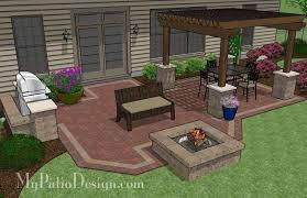Backyard Plan Backyard Brick Patio Design With 12 X 12 Pergola Grill Station