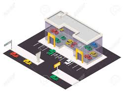 vector isometric car store building 3d city map elements royalty vector isometric car store building 3d city map elements stock vector 52032968