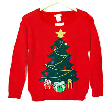 led light up tree tacky sweater the