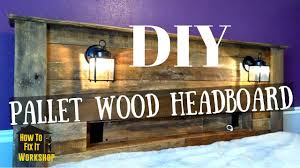 Pallet Wood Headboard Pallet Wood Headboard With Coach Lights And Recessed Shelf