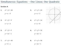 simultaneous equations one quadratic gcse worksheet and powerpoint by ukmaths teaching resources tes