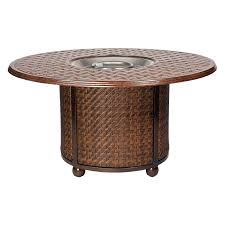 Patio Furniture With Fire Pit Set - woodard thatch aluminum 48 in round fire pit table hayneedle