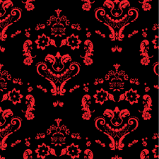 Wallpaper For Home by Baroque Damask Smiles Red On Black Dig 98521 Designer