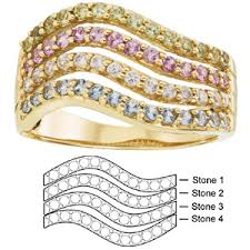 4 mothers ring moana s ring 14kt yellow gold with 4 simulated birthstones
