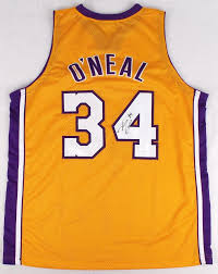 shaquille o u0027neal autographed yellow jersey lakers autographs