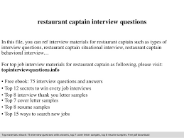 Resume Sample For Interview by Restaurant Captain Interview Questions