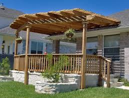 Flagstone Patio With Pergola Exterior Backyard Patio Pergola Ideas Design With Wooden Rail Half