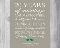 20th anniversary present 20 year anniversary gift wedding anniversary gift print gift for