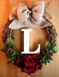 Decorating A Christmas Wreath Ideas by Diy Grapevine Wreath With Burlap Bow And Monogram For 2015