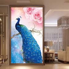 custom printed wall murals home design ideas custom printed wallpaper blue peacock living room entrance corridor backdrop wall mural hd wallpaper picture painting