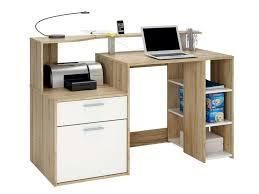 petit bureau informatique pas cher bureau 139 8 cm oracle coloris blanc et chêne vente de bureau