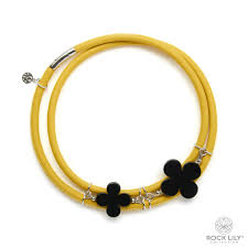 black agate necklace images Swirl double wrap necklace yellow leather with black agate jpg