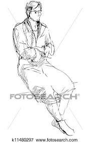 sedere di uomo clip schizzo di uomo in uno dressing gown sedere