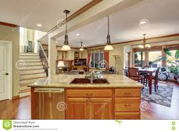 open floor plan view of kitchen island with sink stock photo dining kitchen living room sink