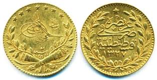 Ottoman Empire Gold Coins Turkey Ottoman Empire Muhammad V Gold 25 Kurush Ah 1327 Year
