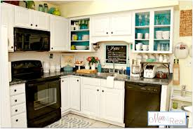 green white kitchen open cabinets with white aqua lime green silver accents mom