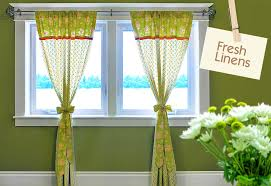 Curtains With Ties Fresh Linens Apple Green Panel Curtains With Jelly Roll Accents