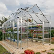 Palram Polycarbonate Greenhouse Snap And Grow 8 U0027 X 20 U0027 Silver Frame Hobby Greenhouse Walmart Com