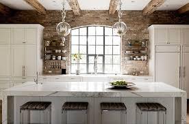 kitchens with brick walls exposed brick walls transitional kitchen thompson custom homes