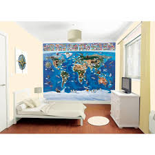walltastic 120 in h x 96 in w map of the world wall mural
