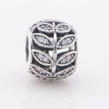 leaf charm bracelet images Authentic 925 sterling silver beads sparkling pave leaf charm bead jpg