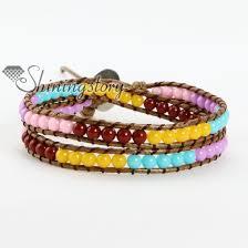 beaded rope bracelet images Waxed cotton cord acrylic bead beaded wrap bracelets wholesale jpg