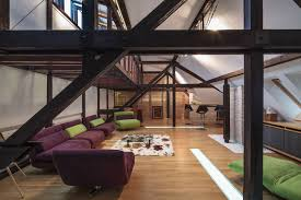structure defines contemporary renovated attic loft apartment