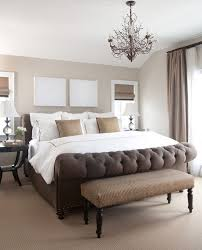 beige walls with brown trim bedroom traditional with window