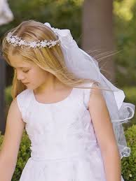 communion veil rosebuds w bead accents satin ribbon communion veil