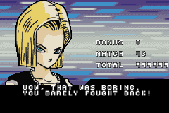 android 18 and cell ending for z taiketsu android 18 boy advance