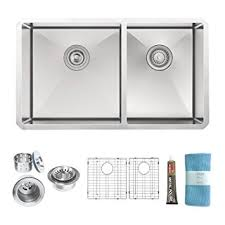zuhne 32 inch undermount 60 40 deep double bowl 16 gauge stainless